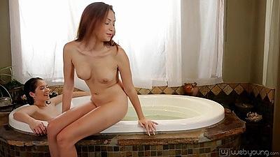 Sweat petite girls hitting the jacuzzi tub Cassie Laine and Tiffany Fox