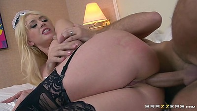 Sideways anal sex with close up from maid lingerie and pov Kagney Linn Karter
